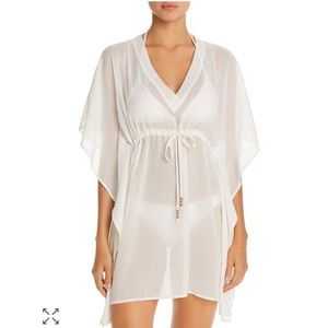 Echo solid classic butterfly swim cover up white